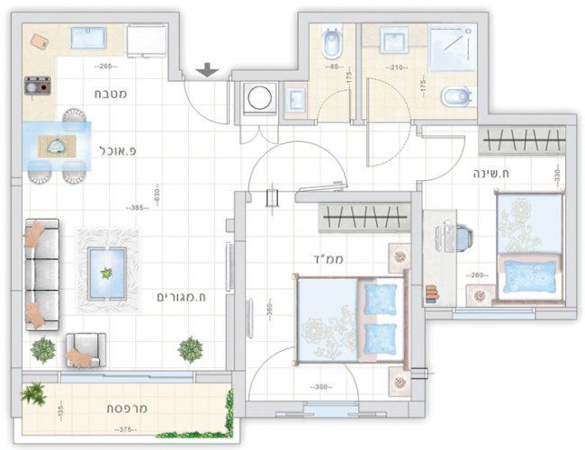 תכנית דירת נרקיס - אחוזת נווה חוף, דיור מוגן איכותי