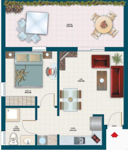 תכנית דירת רקפת - אחוזת נווה חוף, דיור מוגן איכותי